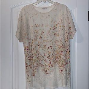 Zara floral crochet t shirt top